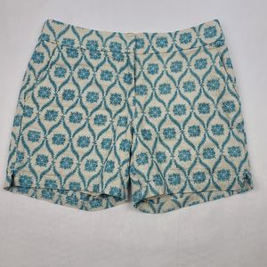 Loft blue printed linen flat front shorts
